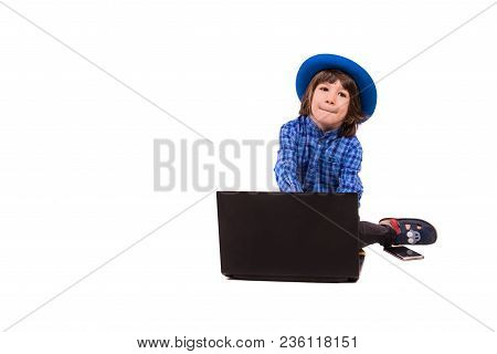 Thinking Executive Boy With Laptop Looking Away Isolated On White Background