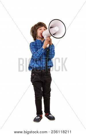 Little Boy Making An Announcement By Megaphone Isolated On White Background