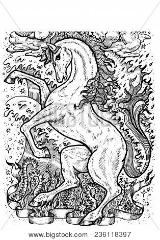 Horse Symbol With Four Nature Elements, Fire, Air, Water And Earth Mystic Signs. Fantasy Vector Illu