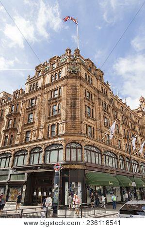 London, United Kingdom - June 23, 2017: Harrods , Luxury Department Store On Brompton Road. 7-storey