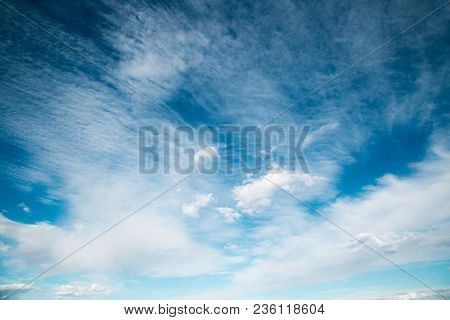 Blue Sky Background With Brush Strokes Clouds