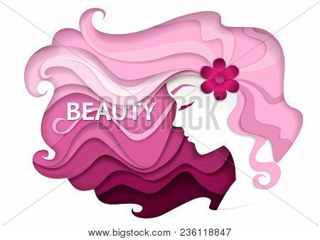 Beautiful Girl With Long Wavy Hair. Vector Illustration In Modern Paper Art Style. Beauty And Hair S