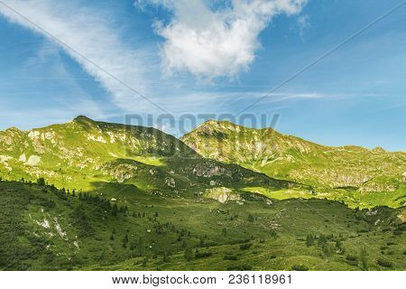 Mountain Landscape In Italy. Pass Of The Cow From Tito Secchi Refuge In Valsabbia, Brescia, Italy.