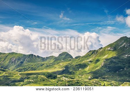 Panoramic View In Mount Gaver National Park, North Italy. Valsabbia, Brescia, Italy.