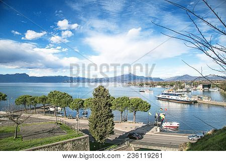 Top View Of The Gulf Of  Peschiera Del Garda, Italy.