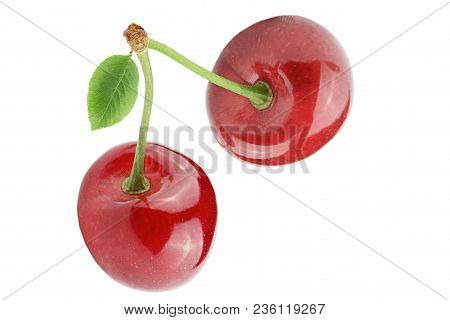 Isolated Berries. Sweet Cherry Fruits Isolated On White Background With Clipping Path As Package Des
