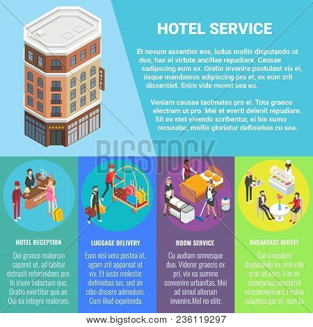 Hotel Service Vector Flat Isometric Poster, Banner With Hotel Building, Copy Space And Hotel Recepti