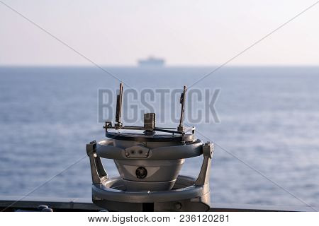 Ship Navigation Bearing Military Type On The Side Of The Bridge When The Ship Is Sailing