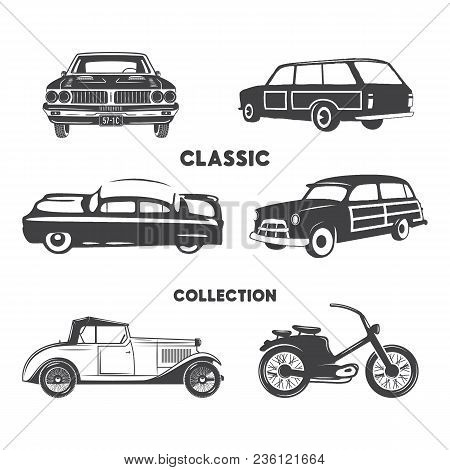 Classic Cars, Vintage Car Icons, Symbols Set.vintage Hand Drawn Cars, Muscle, Motorcycle Elements. U