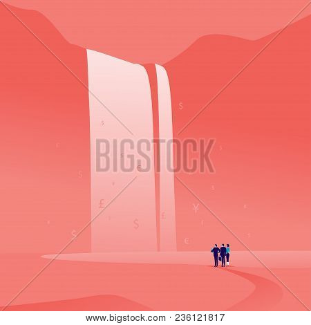 Vector Business Concept Illustration With Business People Standing And Watching At Big Great Finance