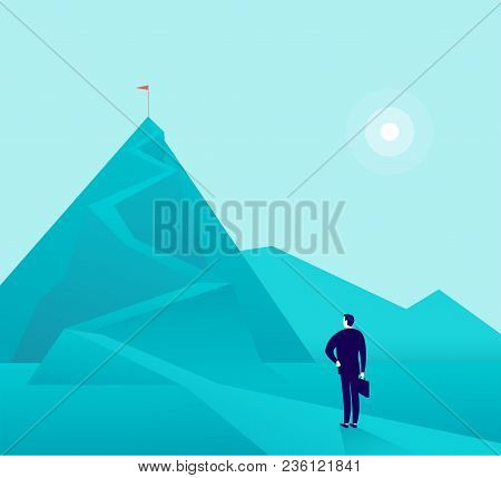 Vector Business Concept Illustration With Businessman Standing At Mountain Peak And Watching On Top.