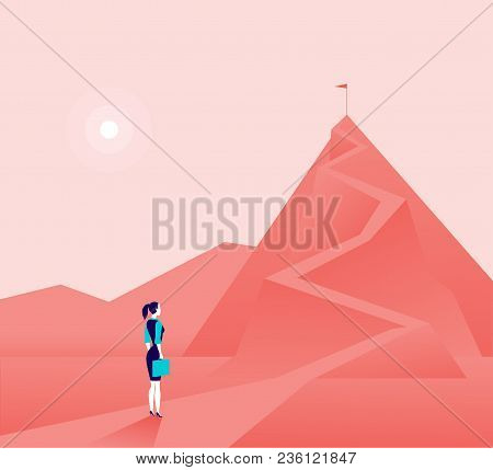 Vector Business Concept Illustration With Business Lady  Standing At Mountain Peak And Watching On T
