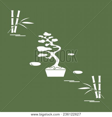 Stylized Icon Of Bonsai Tree And Bamboo. Travel And Leisure. Design For Banner, Poster Or Print.