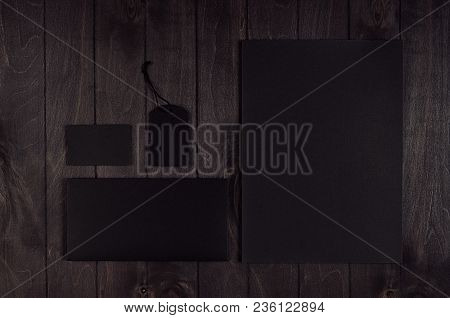 Blank Black Letterhead, Label, Envelope, Business Card On Dark Wood Board. Template For Branding, Bu