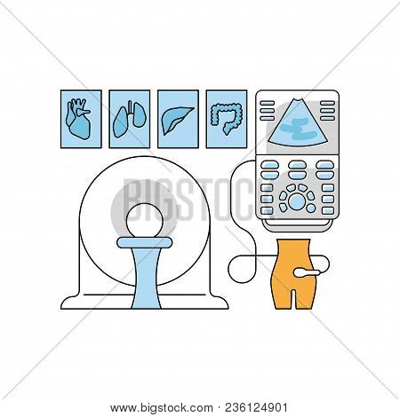 Medical Aid Concept In Flat Line Style. Ultrasonography And Ct Scan Icons Isolated On White Backgrou