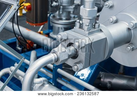 Pipeline System Of A Powerful Industrial Gas Compressor. Abstract Industrial Background.