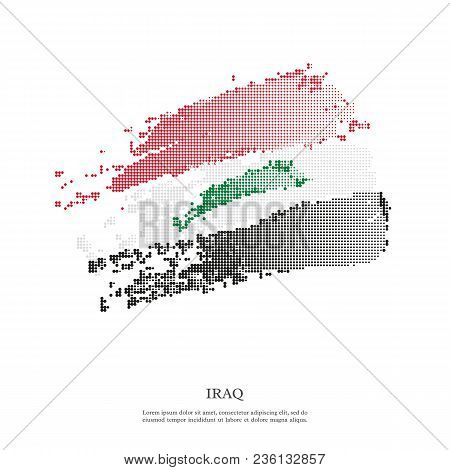 Iraq Flag With Halftone Effect, Grunge Texture. Isolated On White Background. Vector Illustration.