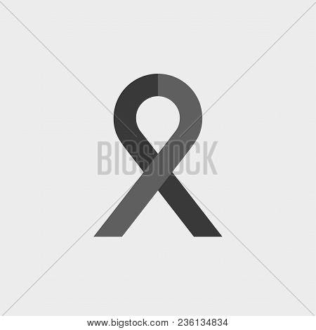 Ribbon Sign Icon. Breast Cancer Awareness Symbol. Black Pictogram On White Background. Flat Pictogra