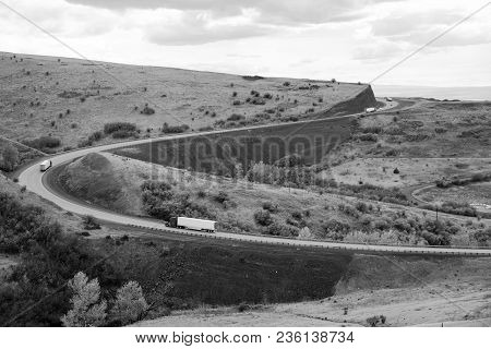 Trucks Make Way Up The Mountain On I-84 In Eastern Oregon State