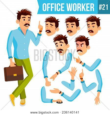 Office Worker Vector. Face Emotions, Gestures. Animation Set. Business Man. Professional Cabinet Wor