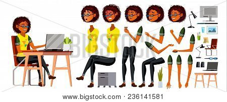 African Black Business Woman Character Vector. Working American Female Girl. Business African Black
