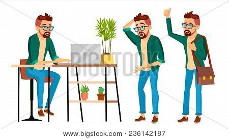 Business Man Character Vector. Hipster Working Man. Environment Process Creative Studio. Male Worker