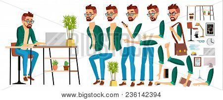 Business Man Worker Character Vector. Hipster Working Male. Office Worker. Animation Set. Clerk, Sal