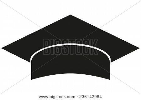 Black And White Graduation Hat Silhouette. Education Themed Vector Illustration For Gift Card Certif