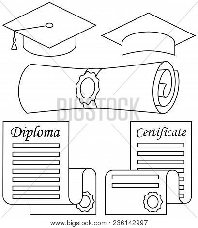 Line Art Black And White Graduation Set 5 Elements. Education Themed Vector Illustration For Gift Ca