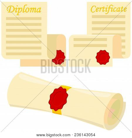 Colorful Cartoon Graduation Scroll Set. Education Themed Vector Illustration For Gift Card Certifica