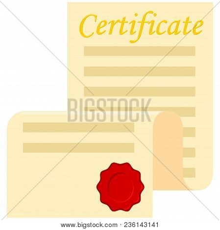 Colorful Cartoon Open Certificate Scroll. Graduation Vector Illustration For Gift Card Certificate S