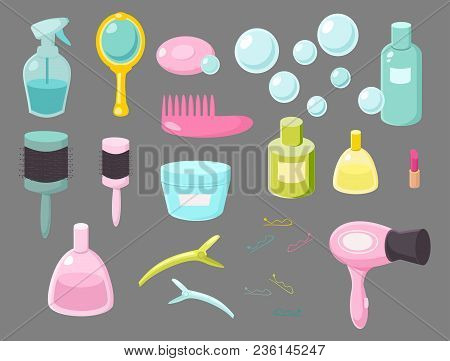 Hair Salon Equipments Set, Hairdressing, Beauty, Shop, Accessories, Objects, Icons.  Set Of Cosmetic