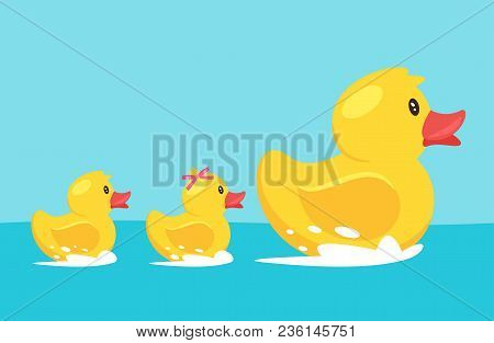 Vector Cartoon Style Illustration Of Yellow Rubber Duck With Family: Duckling Son And Daughter, Floa