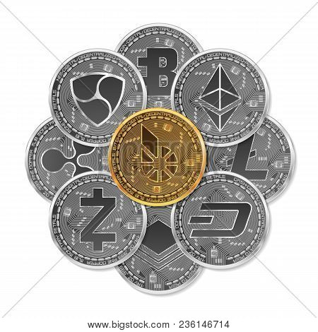 Set Of Gold And Silver Crypto Currencies With Golden Bitshares In Front Of Other Crypto Currencies A