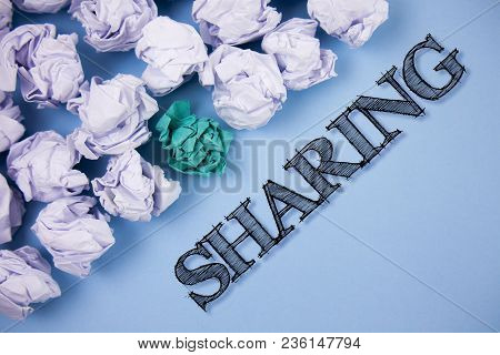 Text Sign Showing Sharing. Conceptual Photo To Share Give A Portion Of Something To Another Possess