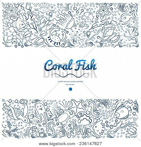 Marine Pattern Of Deep-sea Fish, Algae. Monochrome, Frame For Banners, Advertising Of Marine Product