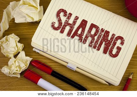 Conceptual Hand Writing Showing Sharing. Business Photo Showcasing To Share Give A Portion Of Someth