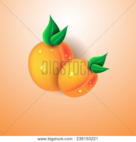 Peaches With Water Drops Isolated On Delicate Peach Background