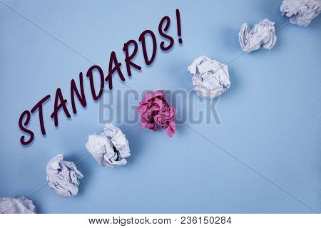 Handwriting Text Writing Standards Motivational Call. Concept Meaning Quality Controls Regulations G
