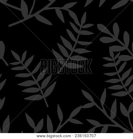 Tile Tropical Vector Pattern With Leaves On Black Background
