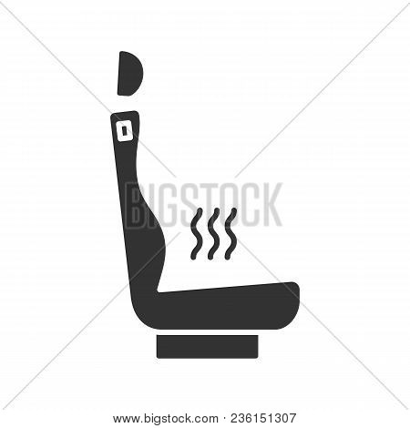 Heated Car Seat Glyph Icon. Seat Warmer. Silhouette Symbol. Negative Space. Vector Isolated Illustra