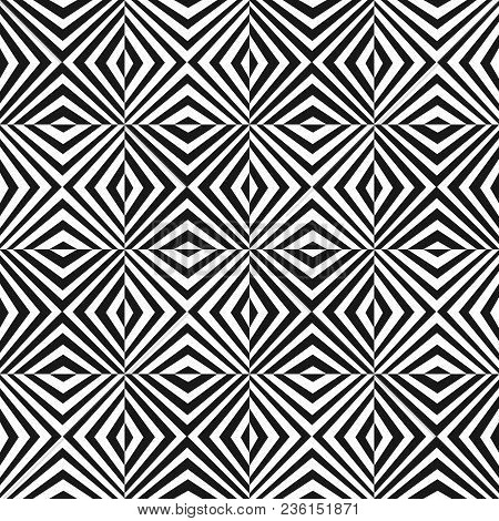 Vector Seamless Pattern With Black And White Stripes. Simple Modern Texture, Crossing Diagonal Strip