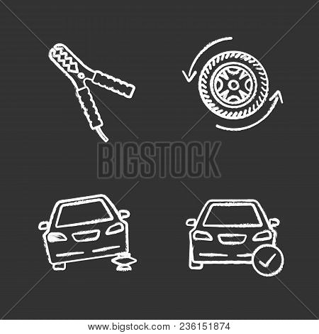 Auto Workshop Chalk Icons Set. Automobile With Checkmark, Car Jumper, Changing Wheel, Auto Repair Ja