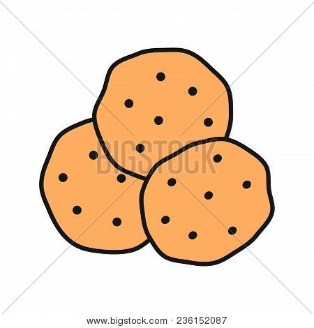 Chocolate Chips Color Icon. Cookies. Isolated Vector Illustration