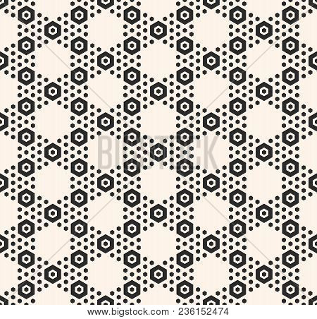 Geometric Hexagon Seamless Pattern. Abstract Black And White Honeycomb Texture With Small Hex Shapes