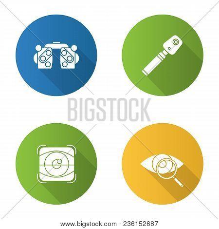 Ophtalmology Flat Design Long Shadow Glyph Icons Set. Phoropter, Ophthalmoscope, Retina Scan, Eyesig