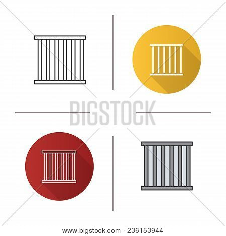 Prison Bars Icon. Flat Design, Linear And Color Styles. Animal Cage. Jail. Isolated Vector Illustrat