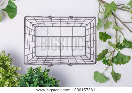 Wire Metal Basket With Foliage Flat Lay Top View