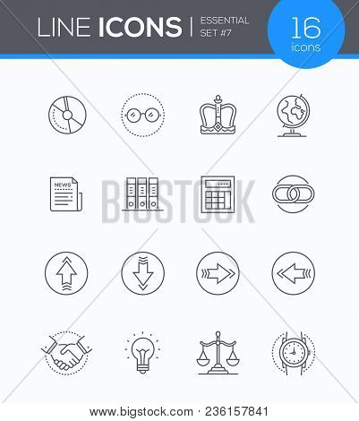 Business Concepts - Modern Line Design Style Icons Set In Blue Round Frame. Main Metaphors On Theme.