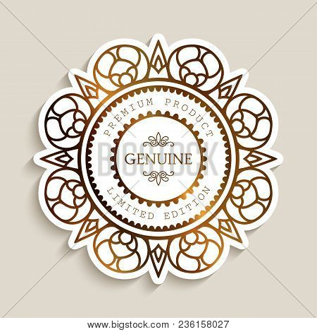 Premium Product Label With Gold Border, Ornamental Sticker, Cutout Paper Badge, Golden Round Frame W